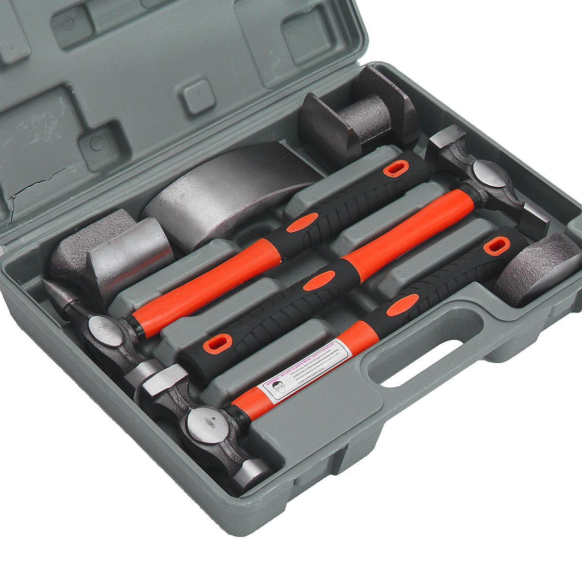 7Pcs Fiberglass Auto Body Repair Tools Fender Tool Kit Hammer Dolly Dent Bender