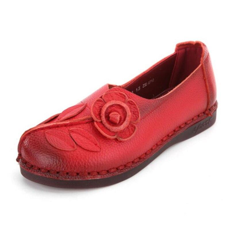 Élégant Rétro slip Chaussures Non Nouveau Appartements Printemps rouge Confortable 2018 Fleur Plat Véritable Noir Mode En pourpre Femmes Cuir 4wvvWx6qAd