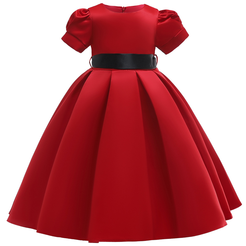 Flower Girl Dream Wedding Wine Red High-end Party Long Dress Girl Birthday Party Ceremony Ball Short-sleeved Dress Vestido