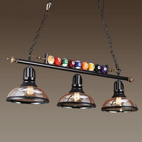 Retro industry billiard pendant lights living room restaurant bar coffee shop glass + ball 1/2/3heads pendant lamps ZA