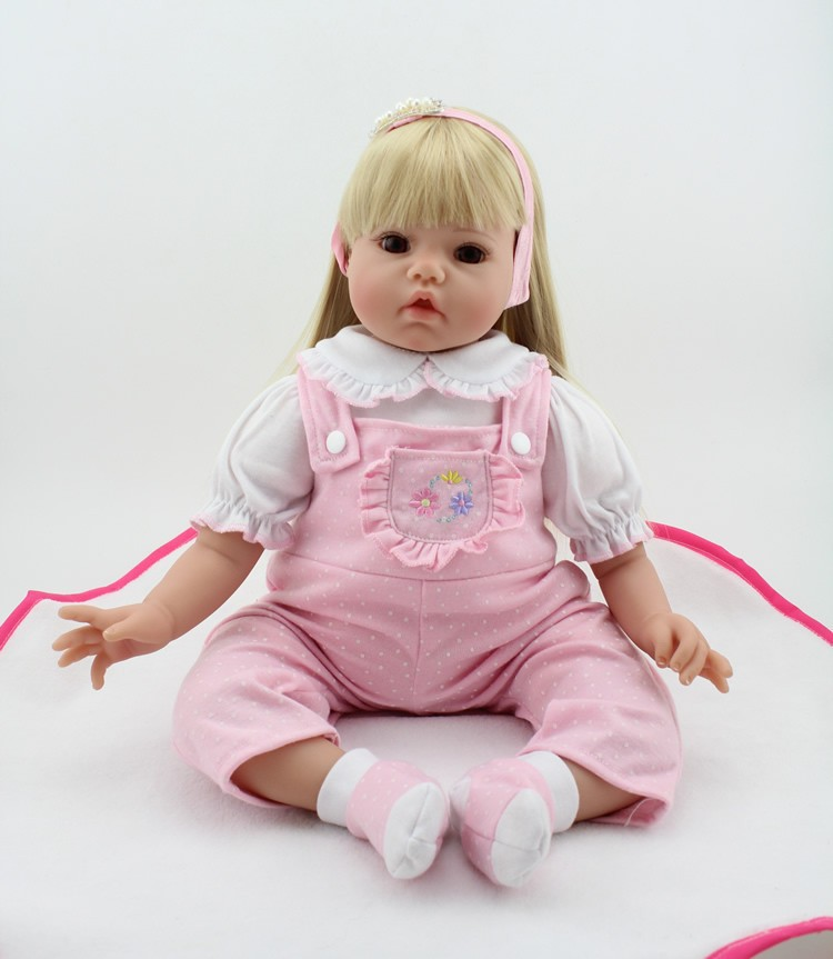 20inch Handmade Baby Toy Reborn Baby Girl Doll Realistic Soft Silicone Lifelike Toy Gift Pink Dresses Girls Hairband handmade chinese ancient doll tang beauty princess pingyang 1 6 bjd dolls 12 jointed doll toy for girl christmas gift brinquedo