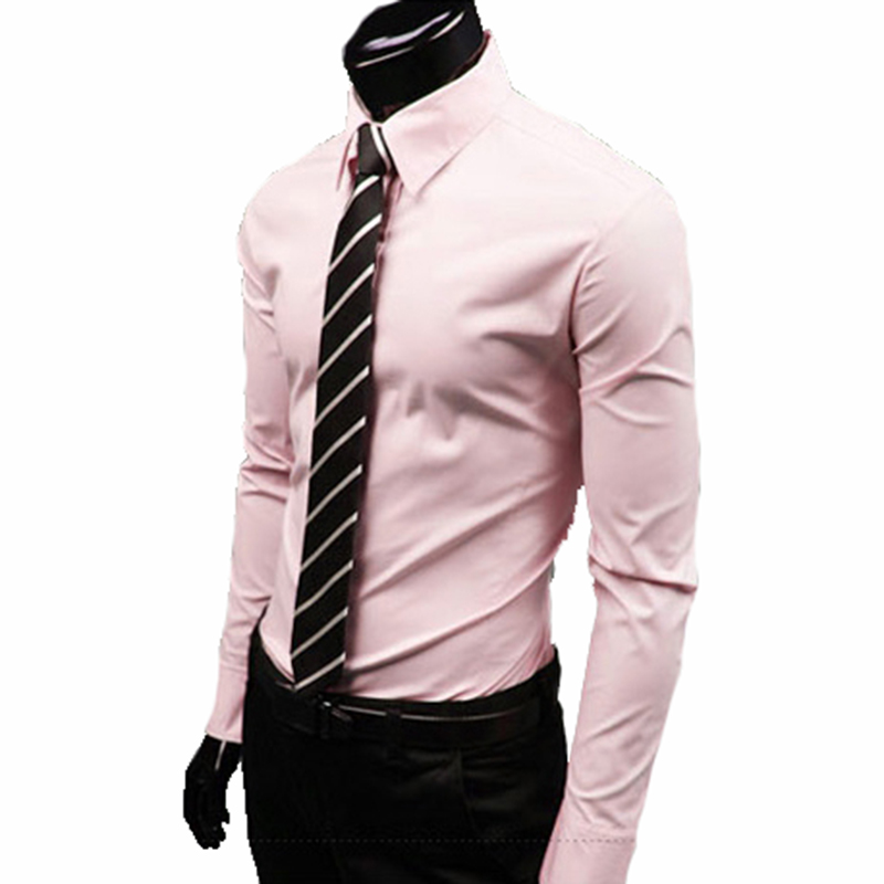 2018 men luxury brand shirts Business Casual Long Sleeve Turn-down Collar Candy colors Men Dress Shirt Men Clothes