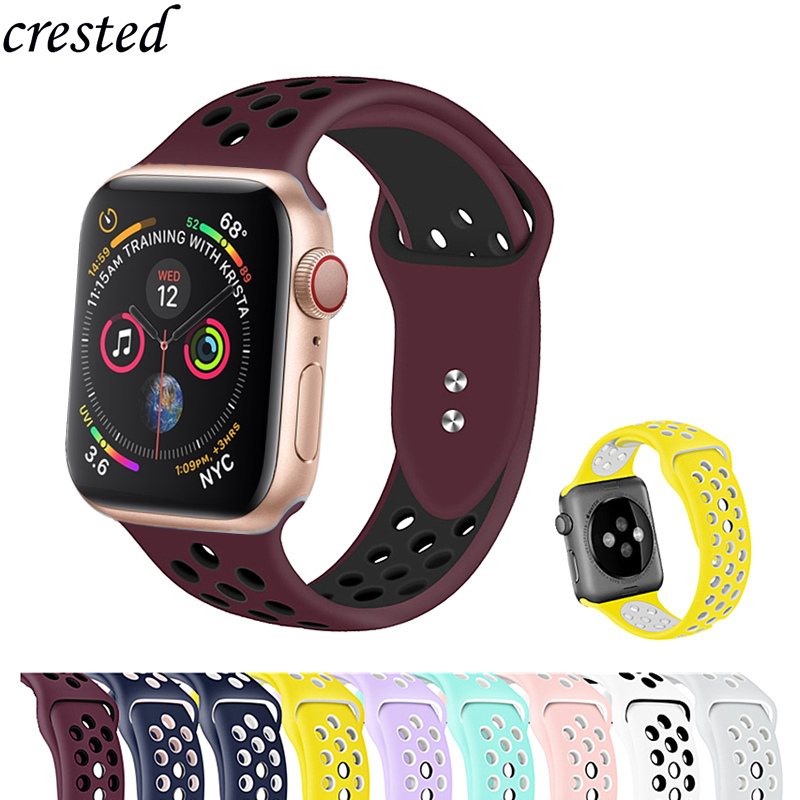 Silicone Strap For Apple Watch Band 44 Mm/40mm IWatch Band 42mm/38mm Double Buckle Bracelet Correas Apple Watch 4 3 2 1 42/38 Mm