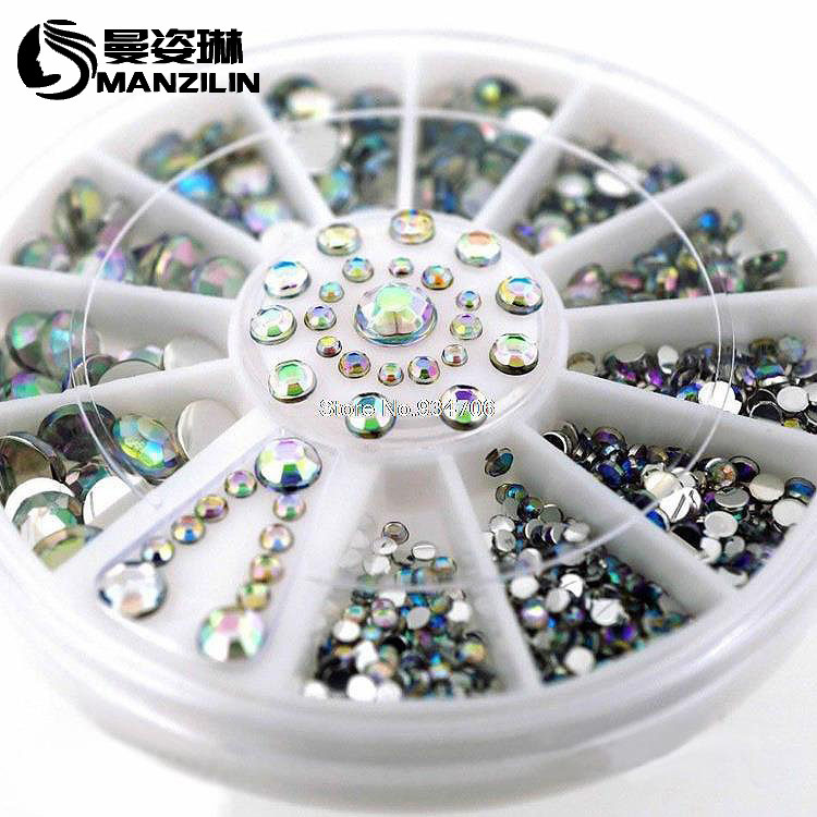 MANZILIN SP0001-28 Mix Sizes Pearl Nail Art Stickers Tips Decoration Wheel Glitter Nail Rhinestone Decoration Tools 6CM