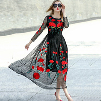 Runway Dresses 2015 New Fashion Runway Long Sleeve Sexy Mesh Carnation Embroidery Slim Black Long Dress