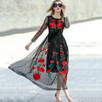 Runway Dresses 2015 New Fashion Runway Long Sleeve Sexy Mesh Carnation Embroidery Slim Black Long Dress