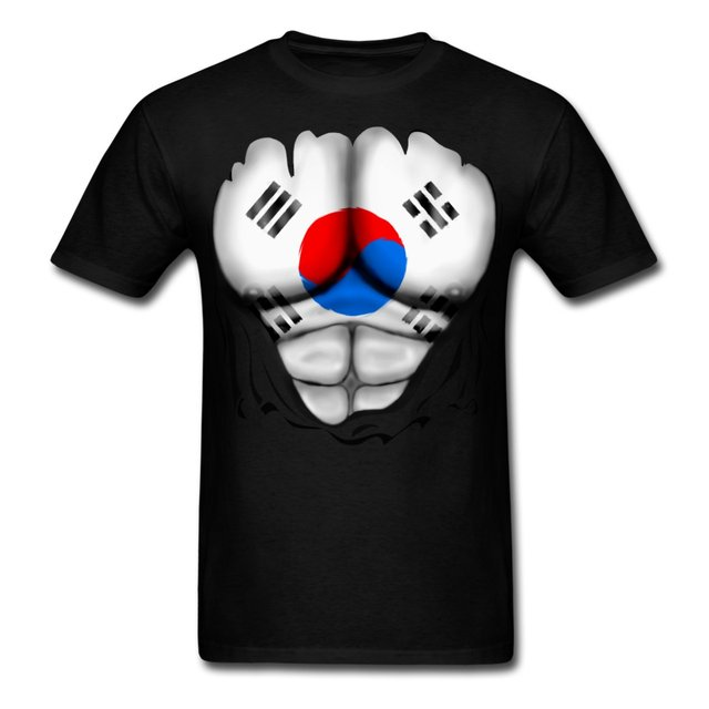 cd6c6fdc South Korea Flag Ripped Muscles Men's T-Shirt Fresh Design Summer Good  Quality Summer T