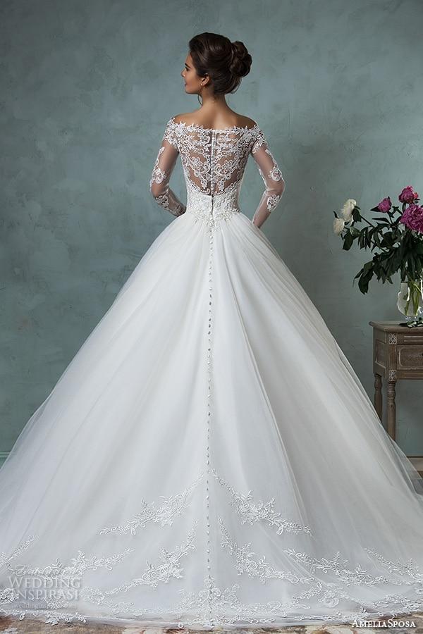 Vestido De Novia 2017 Cheap Lace Wedding Dresses Long Sleeve Fall Winter Bridal Gowns Plus Size