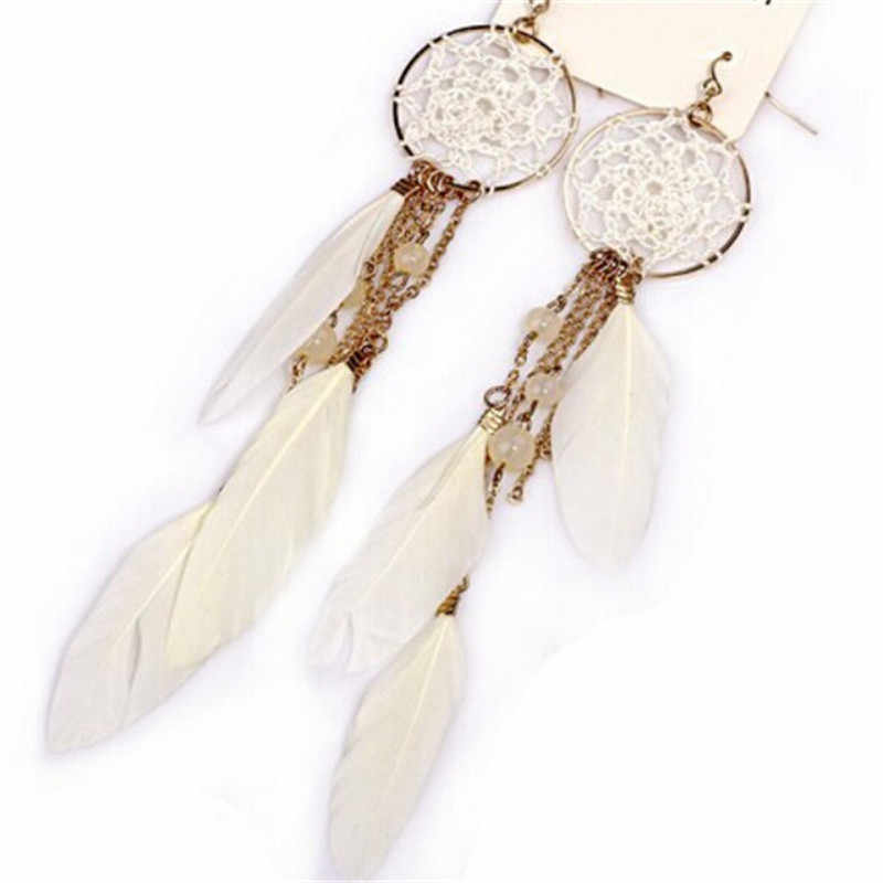 Fashion Jewelry 2017 New Bohemia Feather Beads Long Design Dream Catcher Drop Earrings for Women
