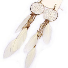 Fashion Jewelry 2017 New Bohemia Feather Beads Long Design Dream Catcher Drop Earrings for Women(China)