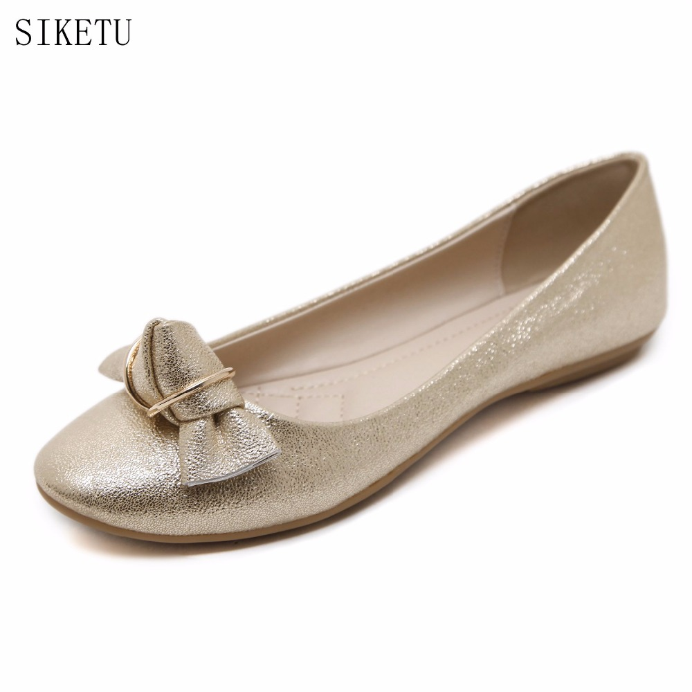SIKETU New Fashion Women Shoes Flat Heel Comfortable Leather Shoes Gold/Blue Women Pointed Toe Leather Girl Shoes 168-1 black red 2015 full grain leather women s summer comfortable shoes pointed toe rhinestone fashion flat heel shoes for women