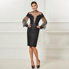 Tanpell high neck short cocktail dresses black long sleeves knee length sheath dress women party formal customed