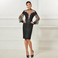 Tanpell High Neck Short Cocktail Dresses Black Long Sleeves Knee Length Sheath Dress Women Party Formal