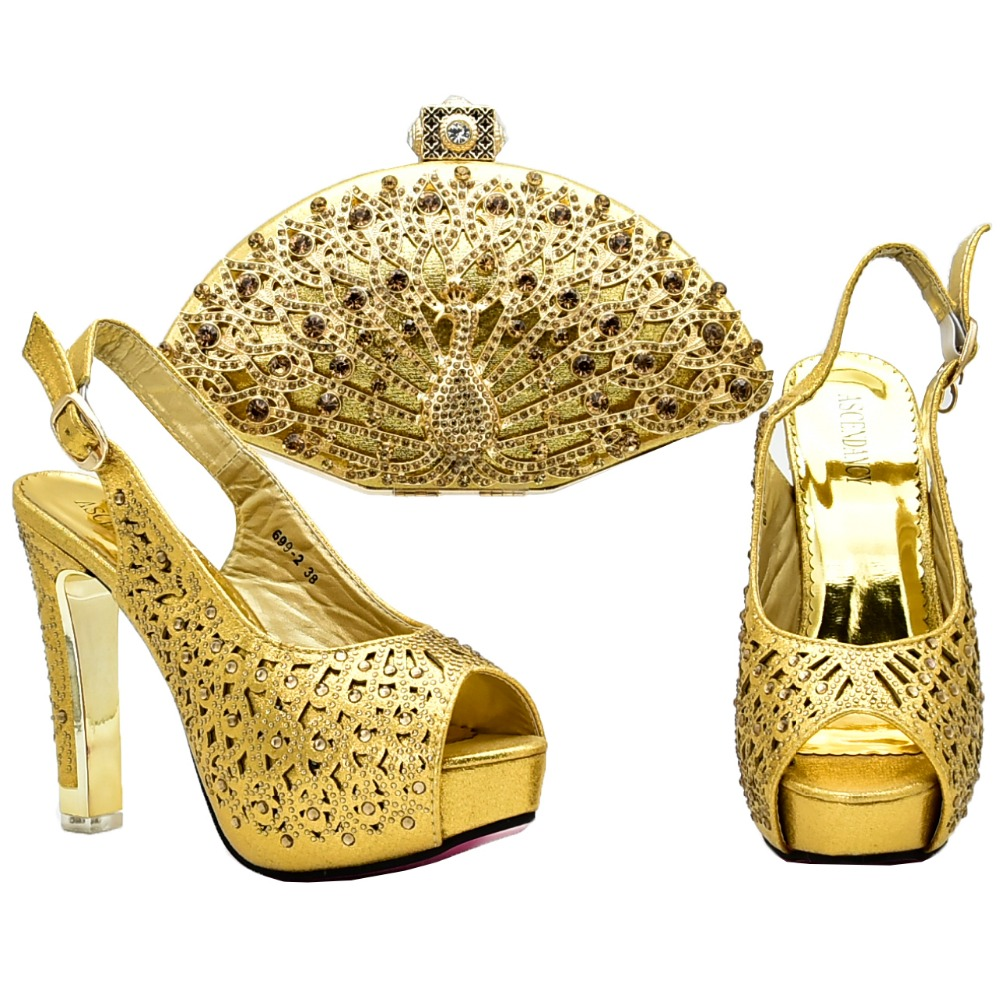 Gold shoe and bag high heel size37 to 42 african lace dress wedding party women shoes and bag to match tulle lace dress SB8129-3 guipure lace overlay fit and flare dress