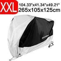 XXL 265x105x125cm 190T Waterproof Black Silver Motorcycle Covers Outdoor Indoor Scooter Motor Rain UV Dust Protective Cover