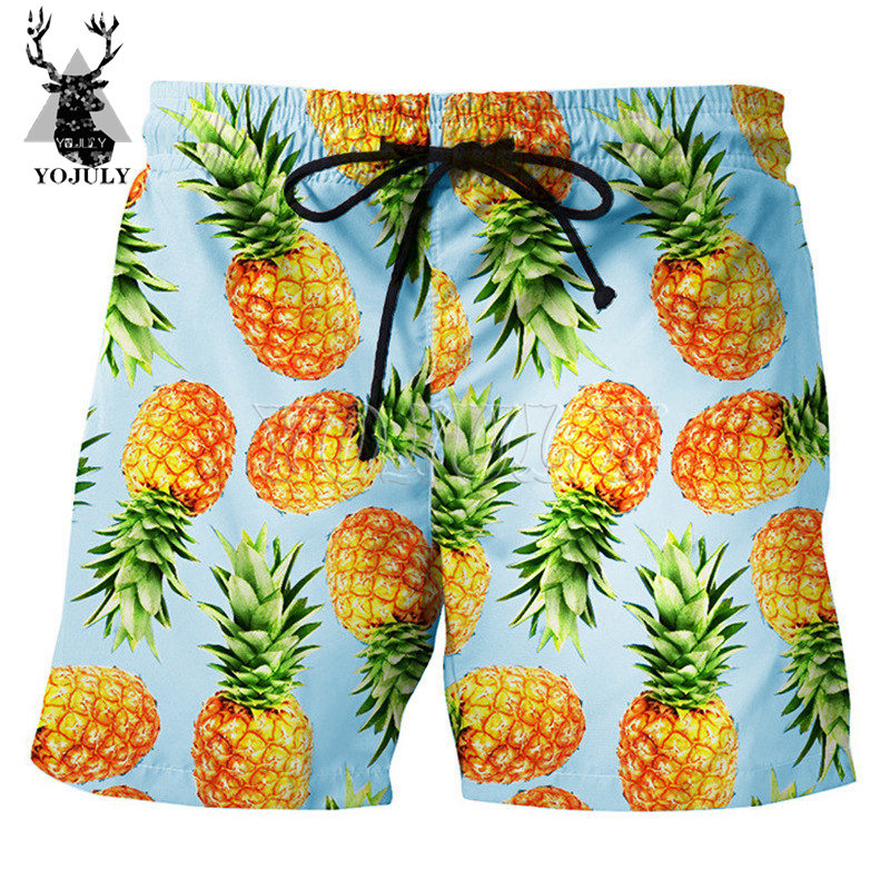 YOJULY Summer Men 3d Print Board   Shorts   Pineapple pattern Mens Swimming   Shorts   Unisex Fashion Casual   shorts   Five colors DK01