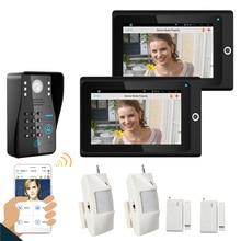Popular 7″ 2 Monitor WiFi Wireless RFID Password Video Door Phone intercom Doorbell IP Camera IR Night Vision Home Alarm System