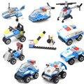 Супер полиции мини-сцены строительный блок Полицейский полицейский патруль автомобилей вертолет самолет лодка Мотоцикл совместимые legoeinglys. игрушки