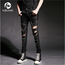 2017 Cool Swag Hip Hop Jeans Destroyed Distressed Knee Leg Zippers Ripped Jeans Pants For Skinny Men Designer pants