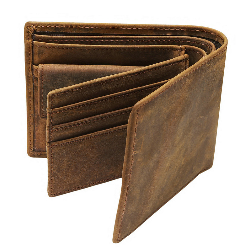 Famous Brand Crazy Horse Genuine Leather Men Bifold Wallets Vintage Thin Wallet Card Holder Bags Classic Short Solid Purse