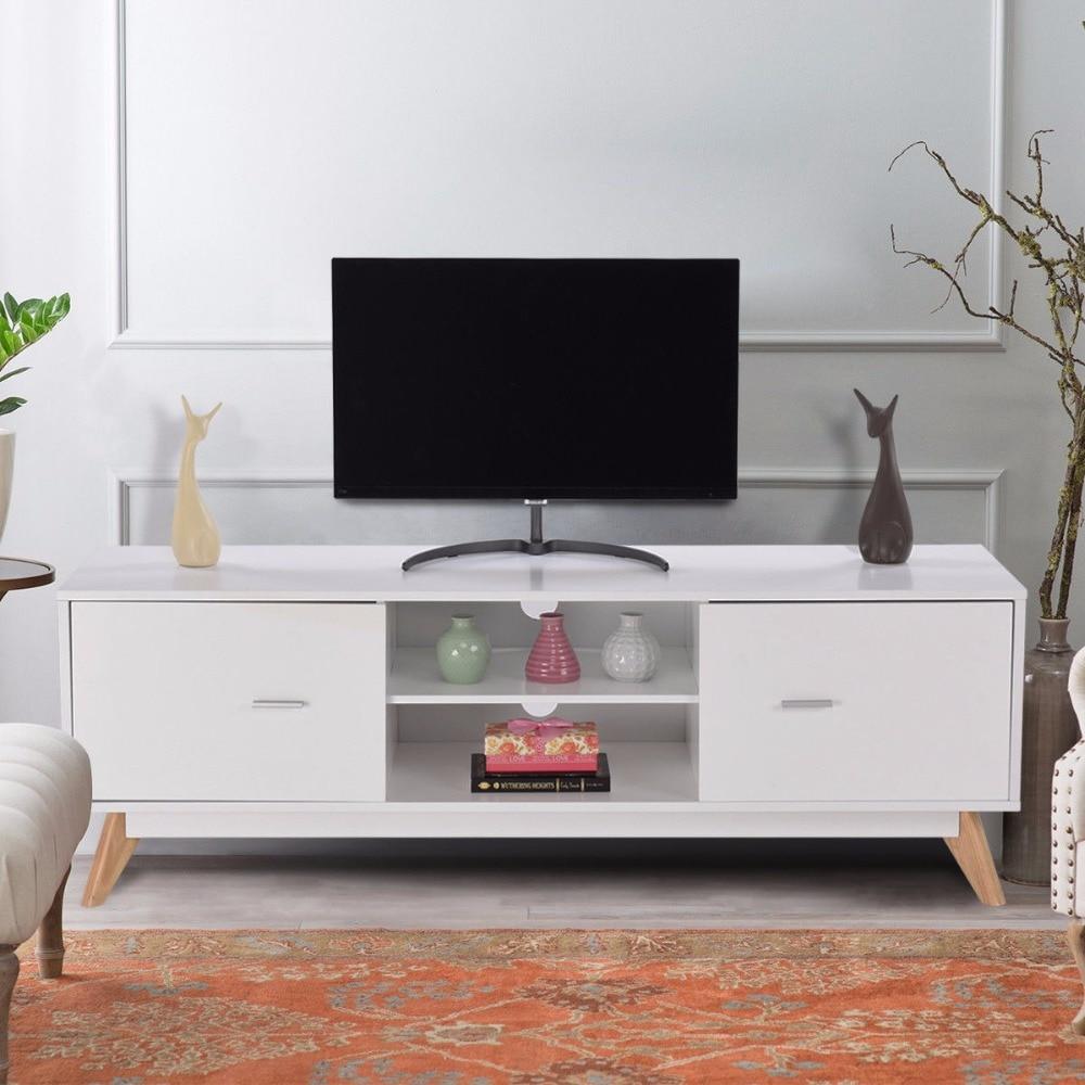 Giantex Modern Tv Stand Entertainment Center Console Cabinet 2 Doors Shelves White Wood Living Room Furniture Hw60413