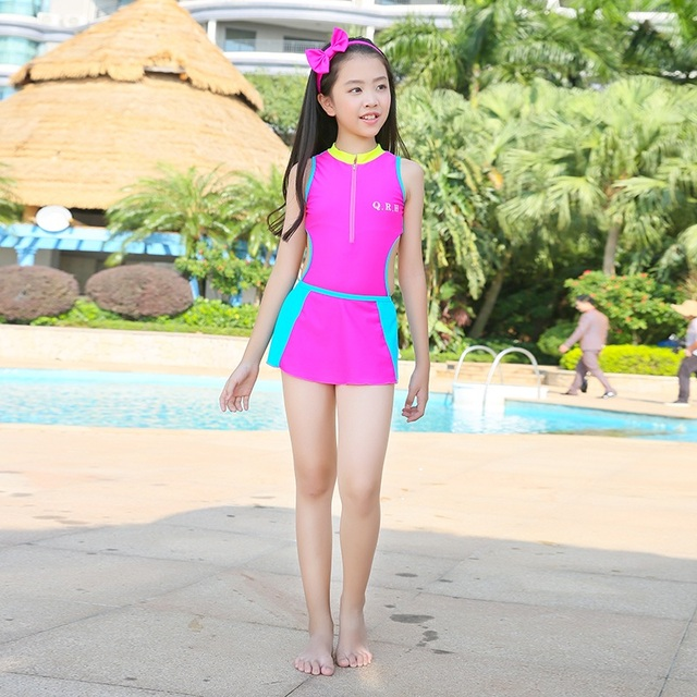 7fa4d825562 girls swimsuit latest lovely and sport one piece with skirt swimsuit beach suits  sports outdoor swimwear for school girl