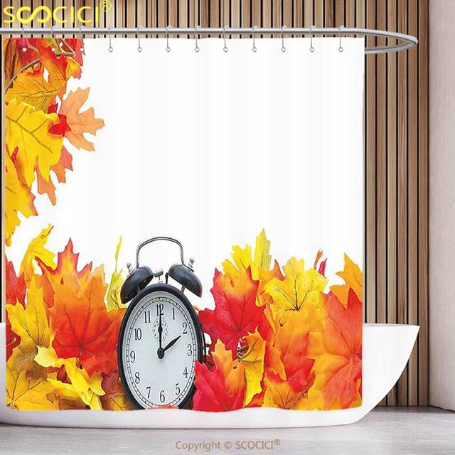 Funky Shower Curtain Clock Decor Autumn Leaves And An Alarm Fall Season Theme Romantic Digital