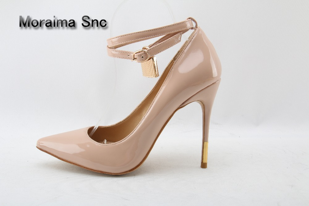 Moraima Snc Brand nude Patent leather women shoes high heels pumps ankle strap Golden lock decor thin heels pointed toe shoes шина нижнекамскшина кама евро 129 195 65 r15 91h
