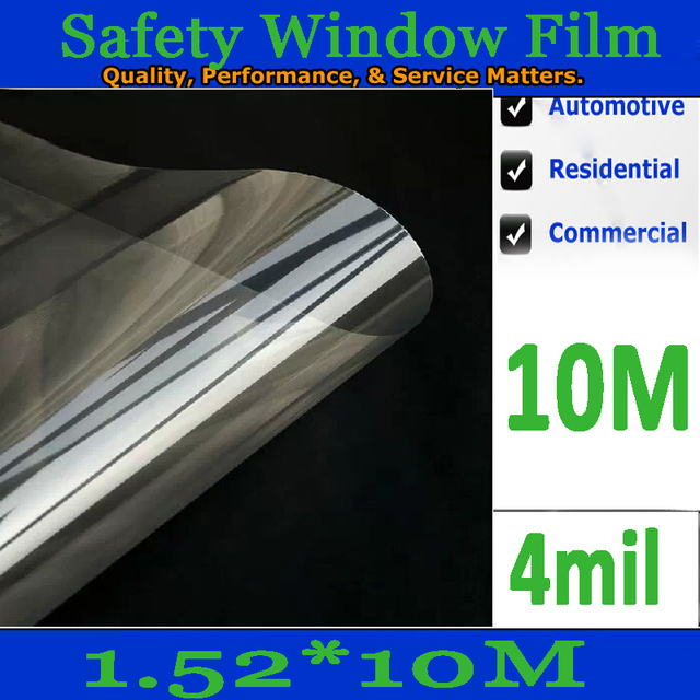 5 ft x 16.4 ft /1.52*10meter 4mil/0.1mm/ Transparent car safety 2ply reflective solar window film