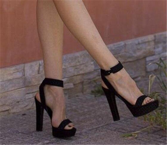 Concise square heel buckle strap platform sandals women open toe ...