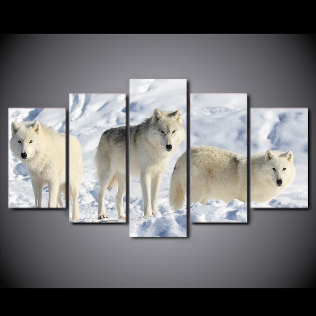 5 unidades enmarcado HD impreso blanco animal de los lobos en la ...