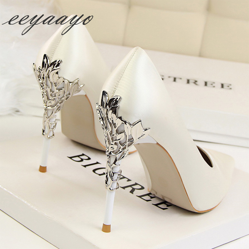 2019 New Spring/Autumn Women Pumps High Thin Heel Metal Pointed Toe Sexy Ladies Bridal Wedding Women Shoes White High Heels