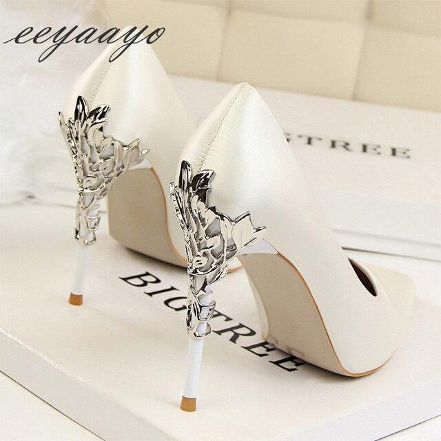 Sapato feminino de salto alto fino ponta fina, sapato sensual de casamento para mulheres, branco, primavera/outono, 2019 saltos altos