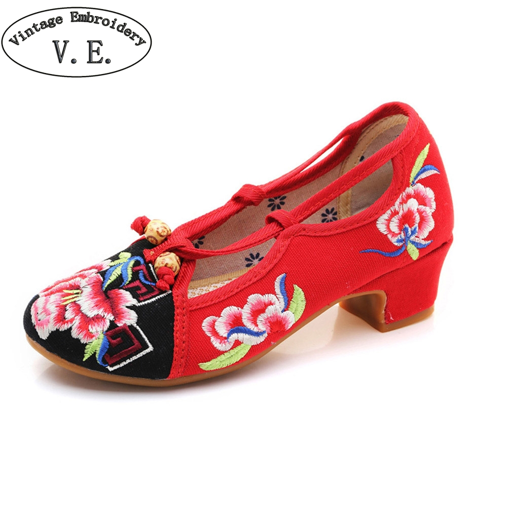 Women Summer Pumps National Floral Embrodiery Canvas Shoes Casual Mary Jane Dance Shoes Woman Ballet Single Pumps traditional chinese style shoes embroidery dance women fashion old beijing mary jane shoes woman red flats single casual plus 41