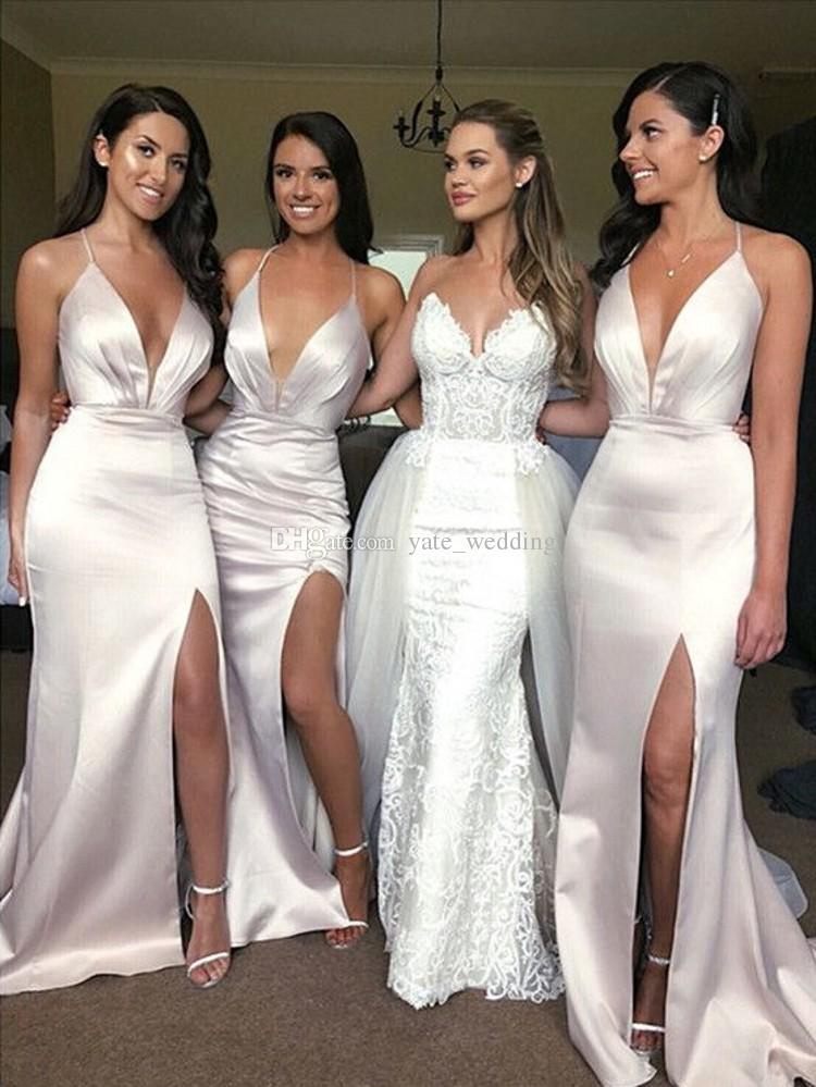 vestido de festa longo Deep V Neck Side Slit Cross Back robe demoiselle d'honneur Wedding Party gown Mermaid Bridesmaid Dresses