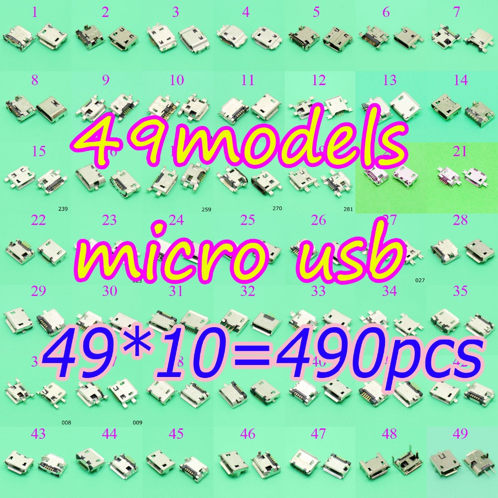49Models 490X Micro USB jack 5Pin,7 pin Micro USB Connector Micro USB Jack Charging port socket for Samsung PAD/ tablet /mobile 300 400models micro usb jack 5p 5pin usb charging socket connector mix smd dip v8 port charging data plug for samsung asus