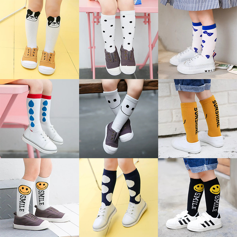 Kids Long Socks Knee High toddler Girls Boot Sock Leg Warmer Cute Cartoon Emoji Baby Solid Cotton Sock for baby Girls Sloth sock