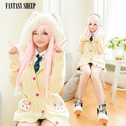 "Fantasysheep Women's Rabbit Sweater Cosplay Costume ""Super sonico ricamo rabbit ear sweater set new"" - FANTASY SHEEP store Best"
