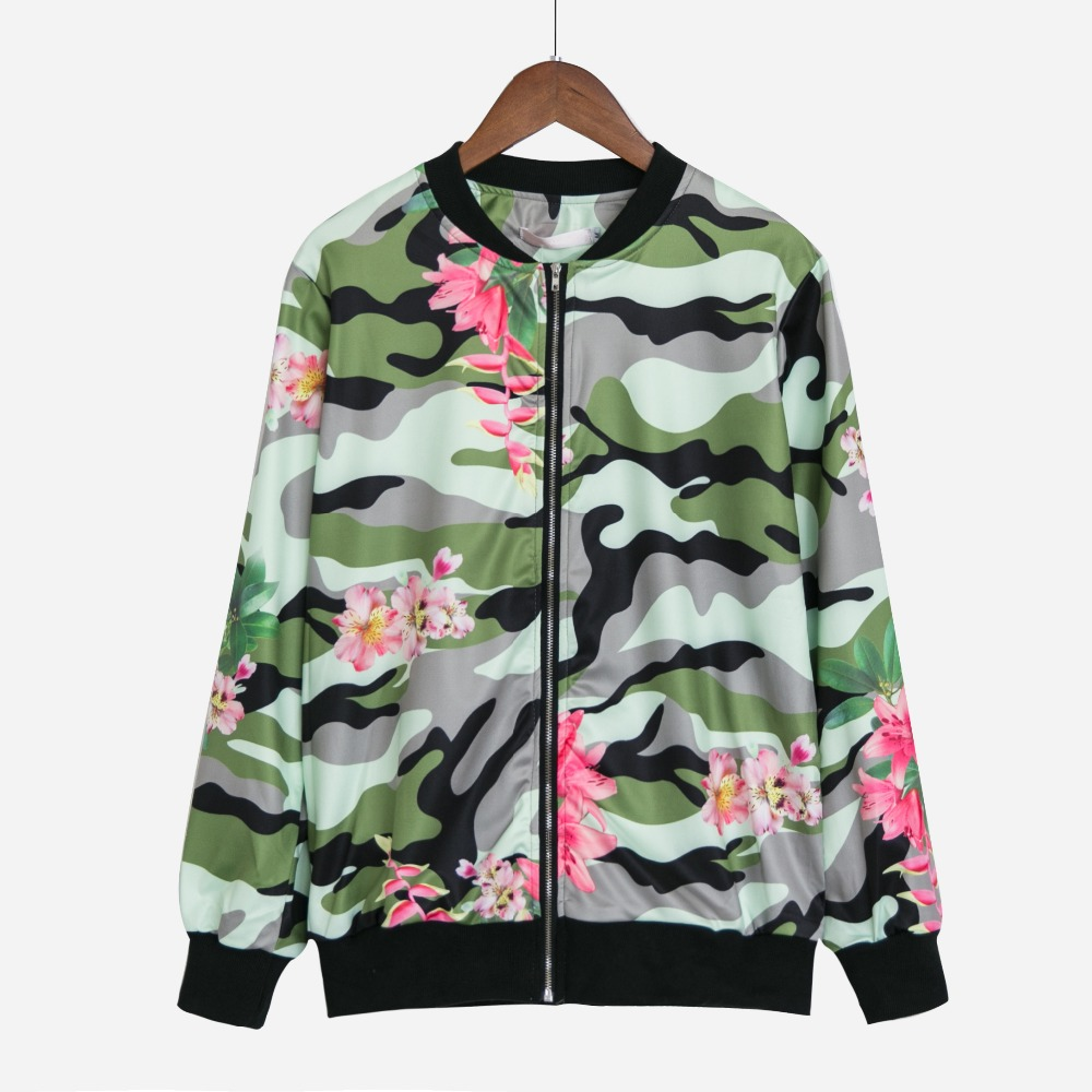 High Street Camo Jacket Women Autumn Zipper Flower Print Baseball Uniform Coat Jacket Long Sleeve chaquetas mujer C6905