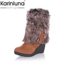 Karinluna/2017 г. Большие размеры 34-43 Модные женские зимние сапоги теплые ботинки на меху на танкетке на высоком каблуке Обувь сапоги до колена на платформе Сапоги и ботинки для девочек зима
