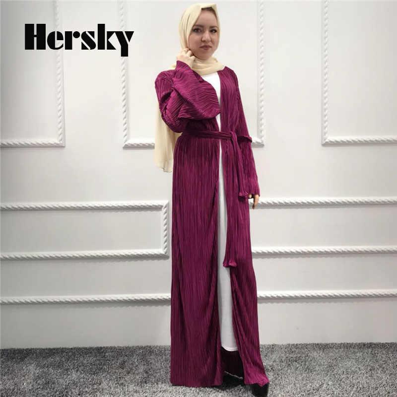 60d950258a43b ... Malaysia Plus Size Dubai Open Abaya Kaftan Islamic Muslim Women  Crimping Dress Turkish Female Cardigan Trumpet