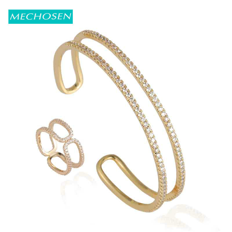 MECHOSEN Fashion Exquisite Double Layer Stackable Jewelry Set Zircon Copper For Women Bridal Ring Bangle Accessories Gifts 2019