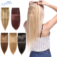 SEGO 10 24 110g 170g Straight Clip In Human Hair Extensions 8pcs/s Hair Clip Double Weft full head Non Remy Human Hair Clips