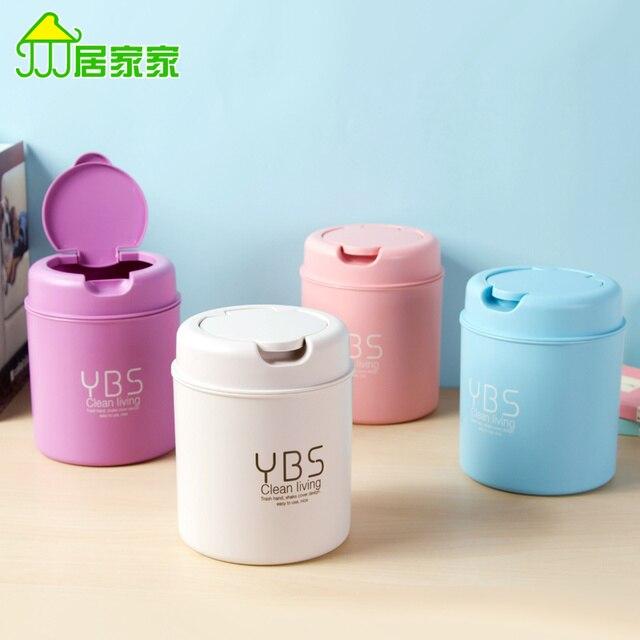Mini Household Plastic Trash Creative Small Living Room Desktop Storage Bucket Wastebasket Lid