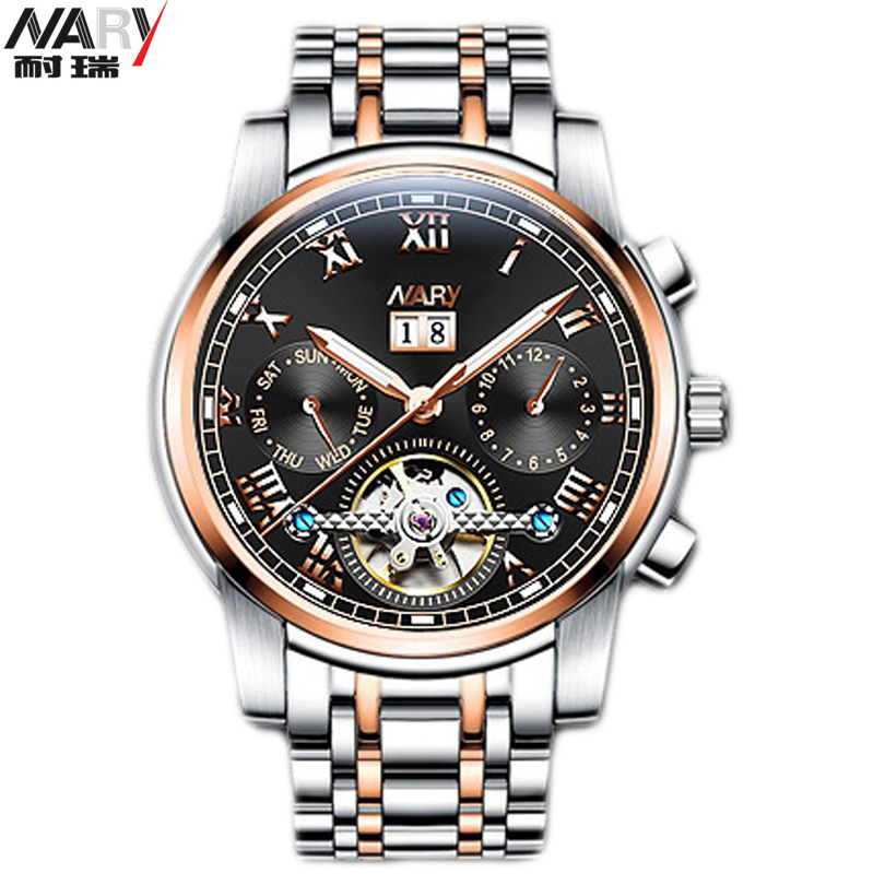 все цены на NARY Classic Luxury Men's Watches Brand Top Mechanical Wristwatch Man Sapphire Stainless Steel Gentleman Watch Fashion Men Clock