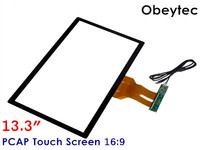 Obeytec 13.3 Projected Capacitive Touch Screen Panel, PCAP, USB Port, 16:9, Driver free, 3MM Thickness
