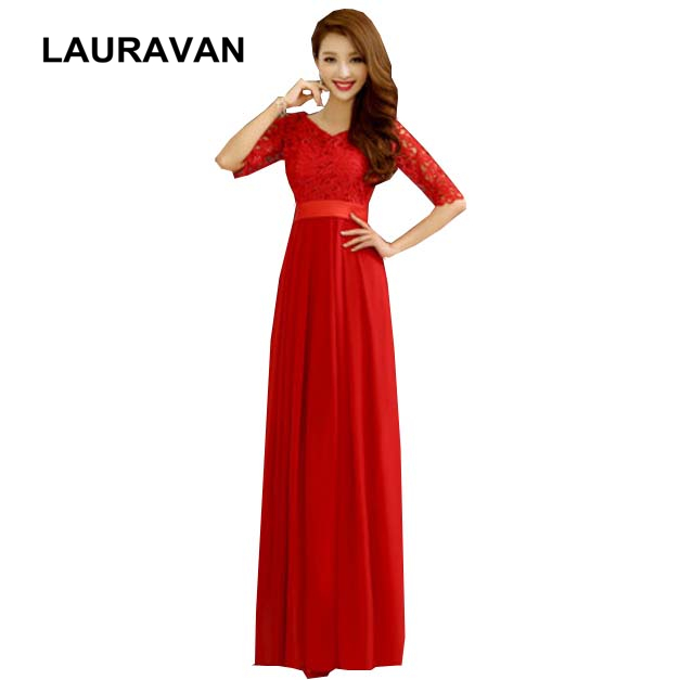 2019 Hot Sales Women Chiffon Bridesmaid Red Bridal Party Dress Floor Length Gown Dresses For Weddings With Sleeves