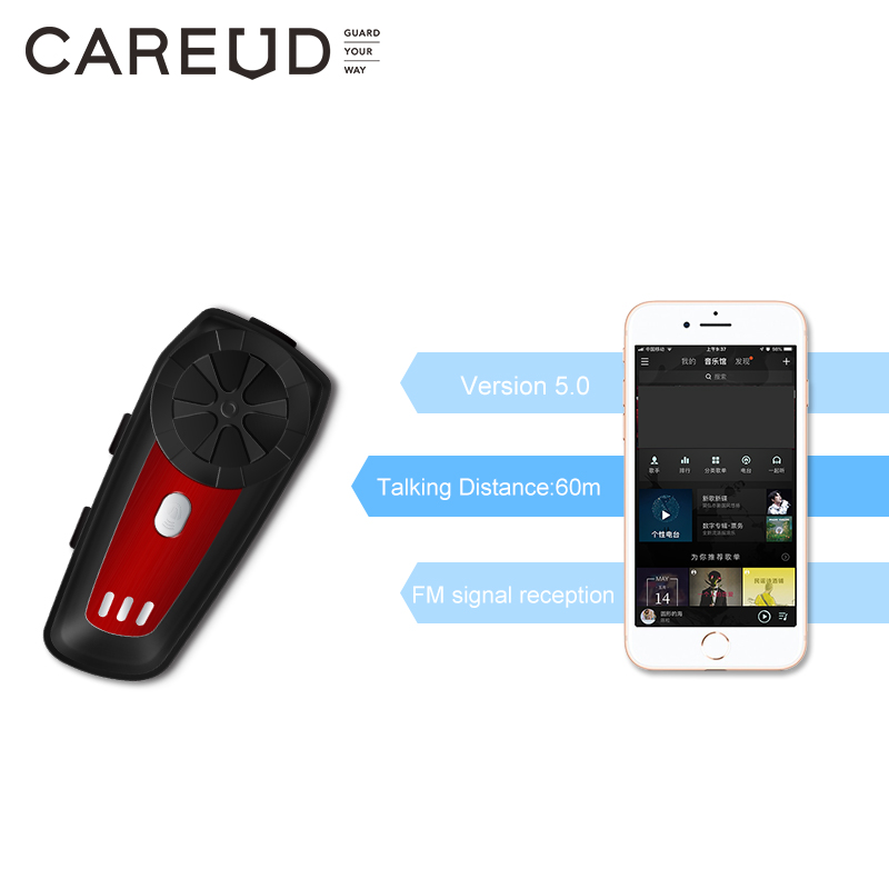 CAREUD M6 Walkie-talkie Bluetooth Headset Wireless Intercom For Motorcycle Helmet Riding Helmet Bluetooth Intercom Headset