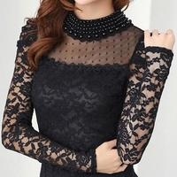 New Fashion Women S Shirts Spring Stand Pearl Collar Lace Crochet Blouse Shirts Long Sleeve Sexy
