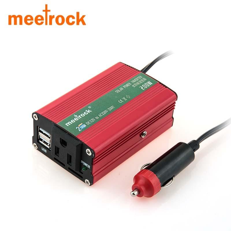 Meetrock 2018 Newest Car Power Inverter 12v 220v 200W Carregador Veicular USB Auto Charger Convertisseur 12v 220v Converter Volt